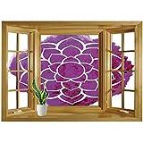 SCOCICI Peel and Stick Fabric Illusion 3D Wall Decal Photo Sticker/Purple Mandala,Watercolor Lotus Flower Yoga Meditation Zen Boho Style Painbrush Artwork Decorative,Fuchsia White/Wall Sticker Mural