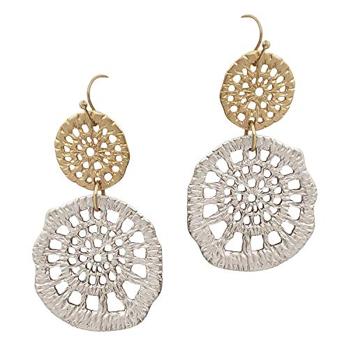 SULLEMM Crochet Pattern Casting Drop Earrings (Matt Gold/Matt Silver) ()