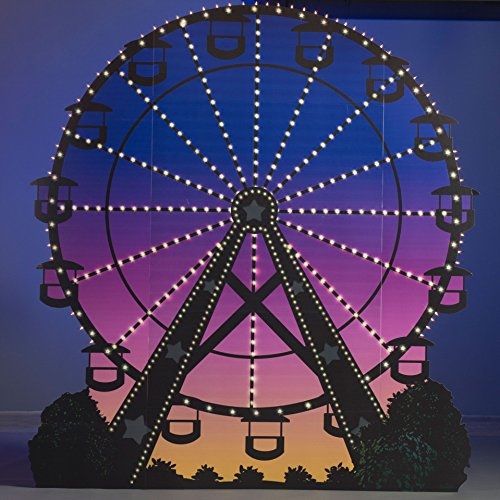 9 ft. 10 in. Lighted Ferris Wheel Standup Photo Booth Prop Background Backdrop Party Decoration Decor Scene Setter Cardboard ()