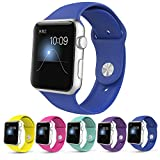 Apple Watch Band,Teslasz Soft Silicone Replacement Sport Wristbands Straps for Apple Watch (Royal Blue 42 MM)
