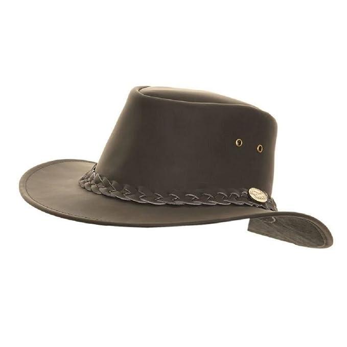 90fcdf38 Hawkins Mens Leather hat Cowboy Australian Bush Stetson Black Brown: Amazon.ca:  Clothing & Accessories