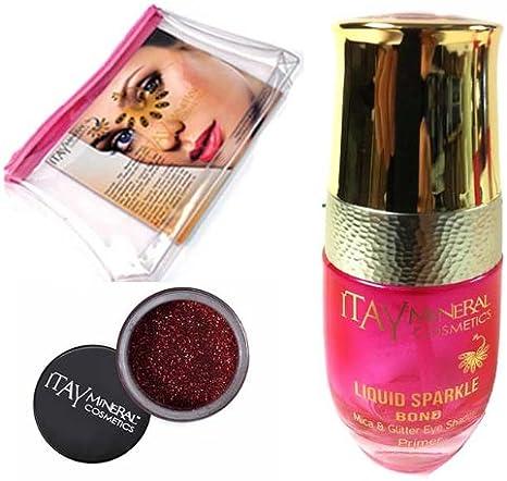 Itay Mineral Cosmetic cartucho de mica con purpurina Bond (nuevo. Botella de cristal rellenable) + polvo de purpurina para en Rosalia G26+ neceser (paquete de 3unidades)