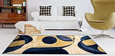 Adgo Atlantic Collection Modern Abstract Geometric Soft Pile Contemporary Carpet Thick Plush Stain Fade Resistant Easy Clean Bedroom Living Room Floor Rug