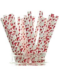Heart Straws (25 Pack) - Red Love Hearts Print Paper Straws, Valentine's Day Party Supplies, Heart Shaped Drinking Straws