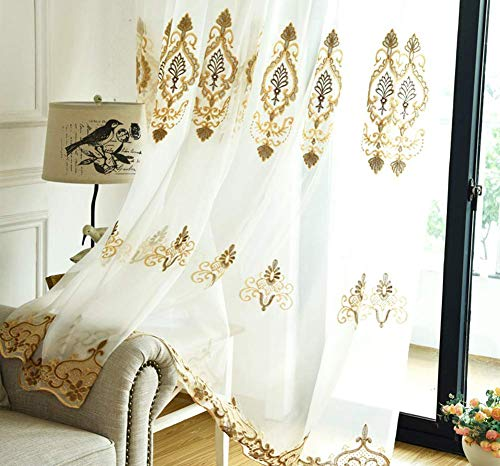 Aside Bside Rod Pocket Sheer Gauze Chiffon Window Curtains Panels Beautiful European Floral Embroidered Design Tulle Drapes for Living Room(1 Panel, W 50 x L 90 inch, White)