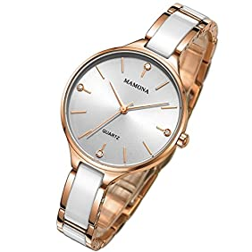 MAMONA Women's Quartz Simple Dress White and Rose Gold Watch Ceramic Ultra Thin L3877RG