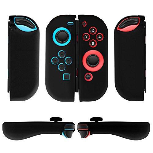 TNP Nintendo Switch Joy-Con Grip Gel Guards with Thumb Grips Caps - Protective Case Covers Anti-Slip Ergonomic Lightweight Joy Con Comfort Grip Controller Skin Accessories (1 Pair Black)