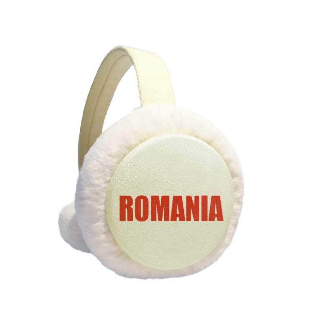 Romania Country Name Red Earmuff Ear Warmer Faux Fur Foldable Outdoor