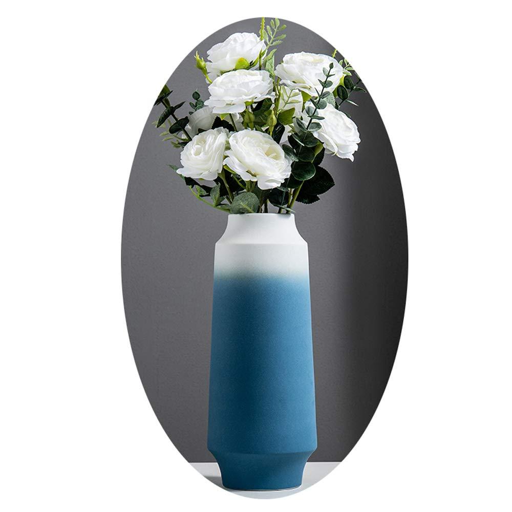 現代のシンプルなセラミック花瓶、ヨーロッパのクリエイティブドライフラワー造花装飾花びん ホームリビングルームテレビキャビネット、ポーチ、オフィス、レストラン,H B07R8QRL46  H