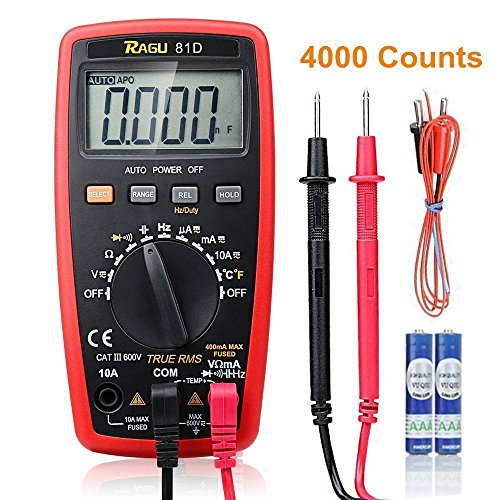RAGU 81D Auto Ranging Digital Multimeter, AC/DC Voltage/Current Resistance Temperature Diode Continuity Measurement Tool, Electronic Test Meter / Measuring Instrument (Electronic Temperature)