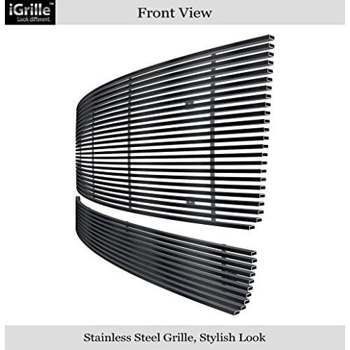 Fit 07-13 GMC Sierra 1500//07-10 2500//Denali Bumper Black Stainless Billet Grille