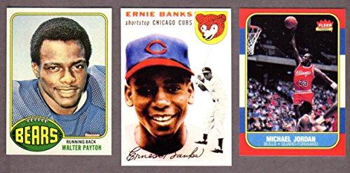 Chicago Hall of Famers (3) Card Reprint Rookie Lot w/ Original Backs 1954 Topps Ernie Banks Rookie Card, 1976 Topps Walter Payton Rookie Card, 1986 Fleer Michael Jordan Rookie - 1954 Cards Football