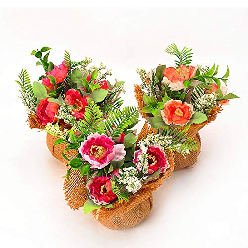 BEGONDIS Set of 3 Artificial Flowers with Flax Bag, Fake Silk Flowers Arrangement for Home Office Restaurant Party Table Centerpieces Windowsill Decoration, for Mother Birthday Valentine's ()