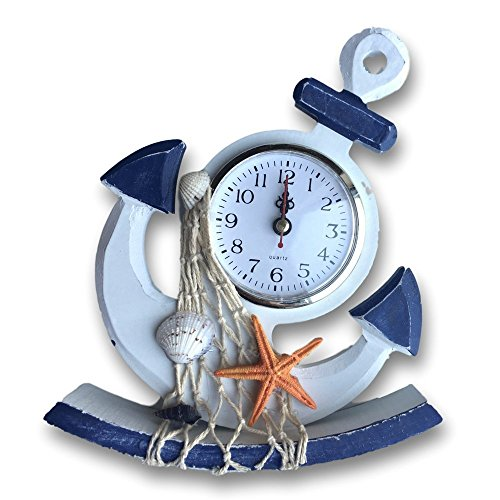 Nautical - Anchor Clock with Fishing Net and Orange Starfish Accents - Decorative Desktop (Anchor Clock)