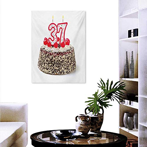 Mannwarehouse 37th Birthday Canvas Wall Art Bedroom Home Decorations Congratulation Age Art Design Cake Greeting Cherries Joy Print Art Stickers 20