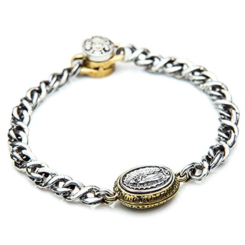 Daesar 925 Silver Bracelet For Men Engraved Oval Bracelet Silver Chain Length:17CM by Daesar