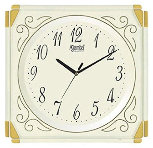 Ajanta Quartz Plastic Wall Clock, Ivory (1 wall clock and 1 AA batteries)