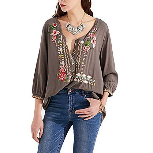 - AK Women's Summer Boho Embroidery Mexican Bohemian Tops Shirt Tunic Blouses Grey