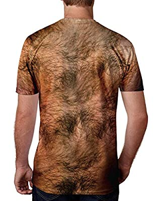 Uideazone Men Women 3D Ugly Chest Hair T Shirt Funny Party Graphic Tee Shirts Summer Short Sleeve Top