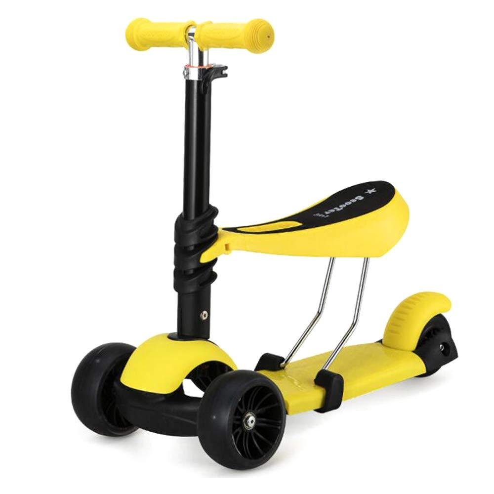 ZY Kinder-Scooter mit Frosch, Faltbare Dose für 3-in-1-Pedal-Walker,LightGrün Gelb