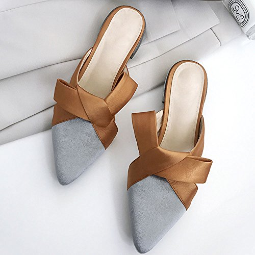 CAICOLOR Colores Mezclados Summer Bow Low Heel con Cool Slippers Mujeres (Color : Gris, Tamaño : EU39/UK6/CN39) Gris
