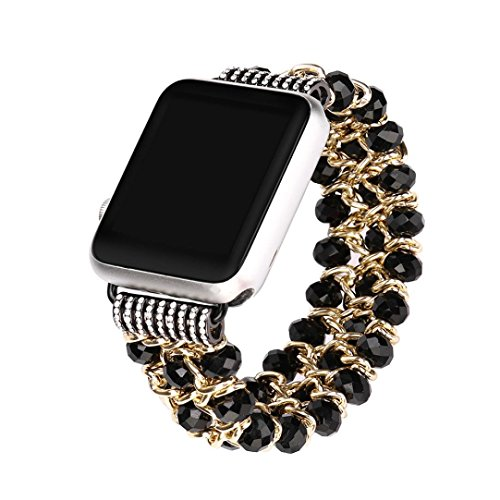 Diamonds Ladies Womens Watch - HP95 Women Crystal Beads Bracelet Relacement Watch Band for Apple Watch Series 1/2/3 38mm(Black)