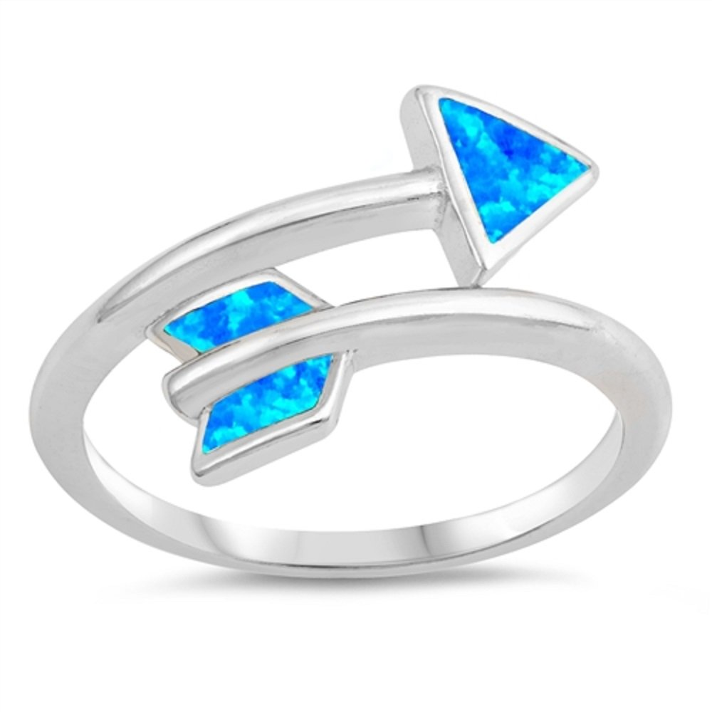CloseoutWarehouse Blue Simulated Opal Wraparound Arrow Ring Sterling Silver Size 6
