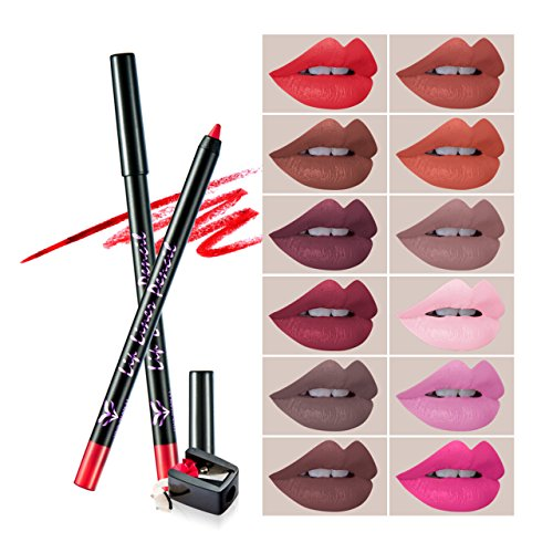CCbeauty 12Pcs Lip Liner Pencil Set with Sharpener Professio