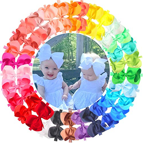 - 30 Pieces/Colors Handmade 6 Inches Grosgrain Ribbon Big Hair Bows Headbands for Baby Girls Infant Toddlers and kids