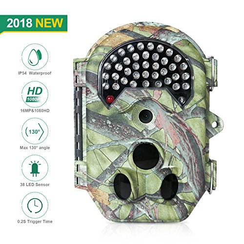 FLAGPOWER Trail Camera, 16MP 1080P HD 120°wide Sensor Wildlife Game Hunting Camera 20M/65ft Infrared Scouting waterproof Camera with Night Vision 38pcs IR LEDs & LCD screen by FLAGPOWER