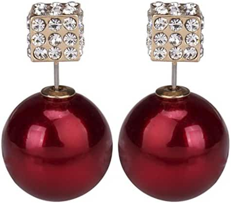 Fashion Womens Lady Earring Double Side Pearl Crystal Ear Studs Earrings Shiny Burgundy