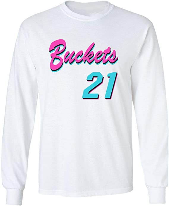 Shedd Shirts Long Sleeve White Miami Jimmy Buckets VICE City T-Shirt