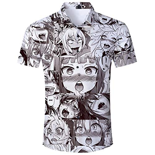 Fromdream Ahegao Shirt Women Anime Otaku Button Collar Blouse 80S Print Hawaiian Tropical Beachwear Summer Apparel M
