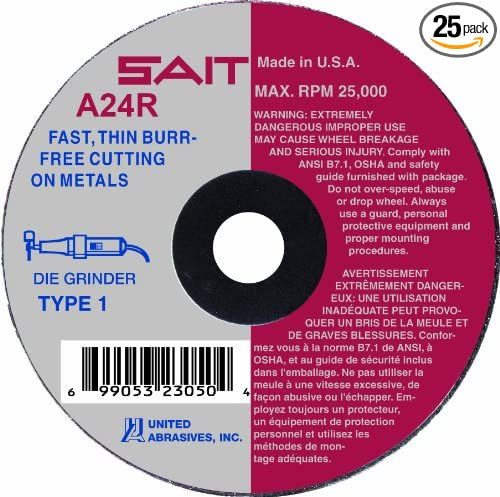 SAIT 23060 Type 1 Cutting Wheel 25-Pack 3 by 1//8 by 3//8 A24R United Abrasives