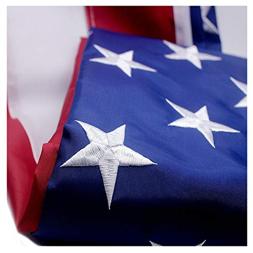 (VSVO American Flag 4x6 ft with Durable 300D Nylon Outdoor Flags - UV Protected, Embroidered Stars, Sewn Stripes, Brass Grommets Outside US Flags.)