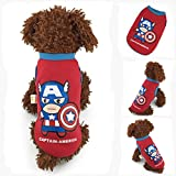 MD New Cool Cartoon Red Captain-America Puppy Winter Warm Thick Sweater Pet Clothes Teacup Dog Clothing (XS)