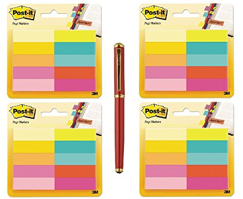 Post-it Page Markers, 1/2 in x 1 3/4 in (2000-Sheet Bundle, Assorted Bright Colors) - Bundle Includes Plexon Ballpoint Pen by Post-it
