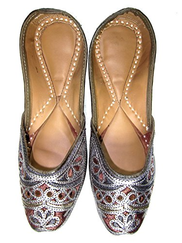 Brown Jutti Shoes Idea Indian For Embroidered Womens with Gift Silver Flat 0AAgq7d