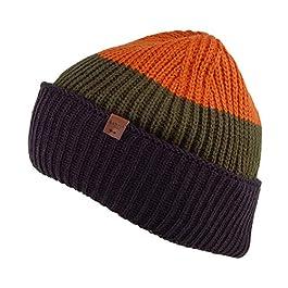 Barts Hats Tholf Stripe Cuffed Beanie Hat – Navy-Orange