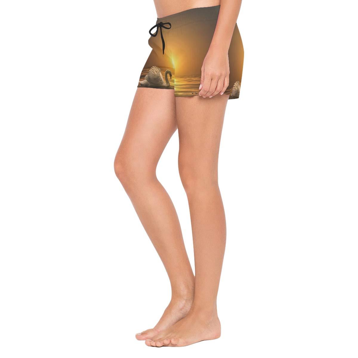 Swan On Sunset Womens Sport Beach Swim Shorts Board Shorts Swimsuit with Mesh Lining