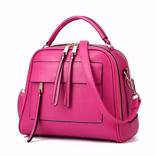 Moda bolsos de cuero paquete cuadrado pequeño paquete diagonal moda bolso portátil simple moda bolsos, 28 * 13 * 23 cm, Rose Mae rojo