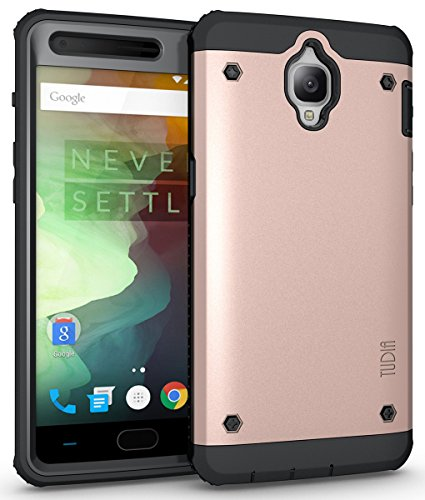 TUDIA OnePlus 3T / OnePlus 3 Case, OMNIX [Heavy Duty] Hybrid [Full-Body] Case with Front Cover and Built-in Screen Protector/Impact Resistant Bumpers for OnePlus 3T, OnePlus 3 (Rose Gold)