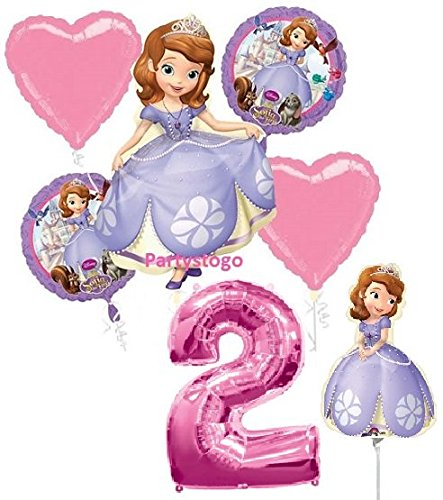 DISNEY PRINCESS SOFIA THE FIRST 2ND BIRTHDAY PARTY BALLOONS DECORATIONS WITH 16