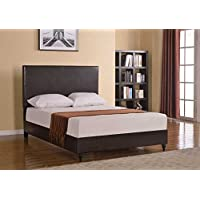 Home Life Brown Leather 47 Tall Headboard Platform Bed with Slats Queen - Complete Bed 5 Year Warranty Included