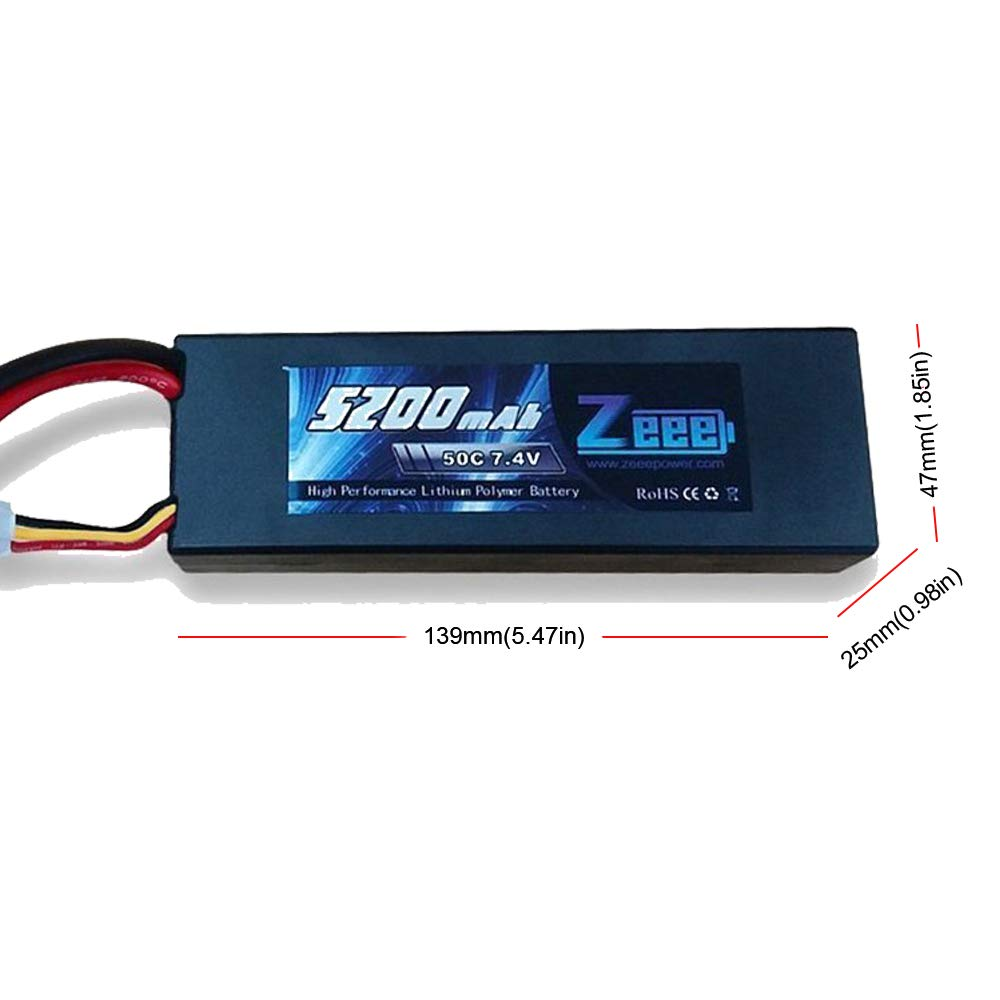 Zeee 2s Lipo Battery 7.4V 50C 5200mAh RC Lipo Batteries Hard Case with Dean-Style T Connector for RC Vehicles Car,Trucks(2 Pack) by Zeee (Image #3)