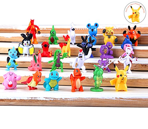 Durotoy 24 Pokemon Action Figures with Pikachu Guarantee , 1″
