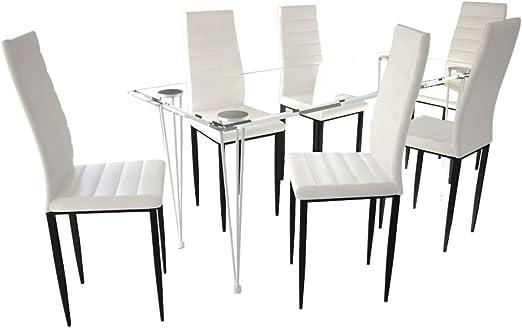 vidaXL Mesa + 6 Sillas Conjunto de Comedor Cocina Sala Moderno Set ...