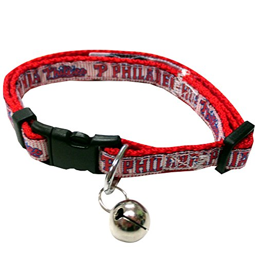 MLB CAT COLLAR. - PHILADELPHIA PHILLIES CAT COLLAR. - Strong & Adjustable BASEBALL Cat Collars with Metal Jingle Bell