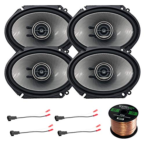 4X Kenwood 720W 6x8 Performance Series 3-Way Black Coaxial Speakers, 2X Enrock 16 Gauge Speaker Harness Adapter W/Red Bullet for Select Ford Vehicles 1998-UP, Enrock Audio 16-G 50 Ft Speaker Wire