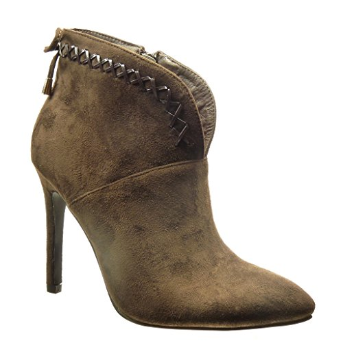 10 Boots Boots node Angkorly Knot Fashion Sexy Women's Laces Metallic Brown Shoes High Booty Heel Stiletto Low 5 Ankle cm q0qaAxw